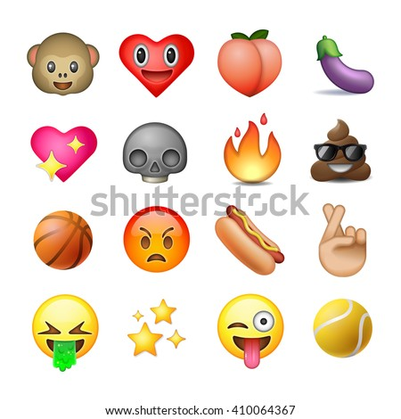 Set of emoticons, emoji, white background - stock vector