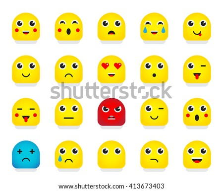 Set of Emoticons or Emoji. Vector Illustration. - stock vector