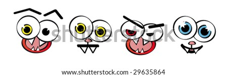 Set of emotion faces - vector - stock vector