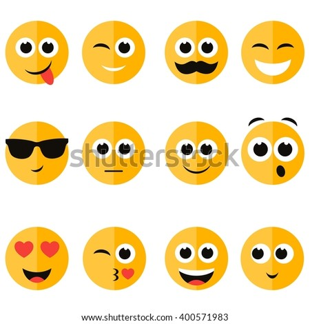 set of emotional face icons - stock vector