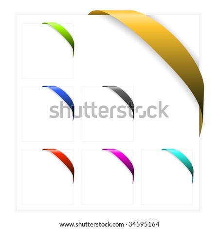 Set of Empty colorful corner ribbons - you can write some text on it - stock vector