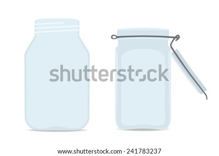 Set of Empty glass jars. Isolated on white background, vector illustration - stock vector