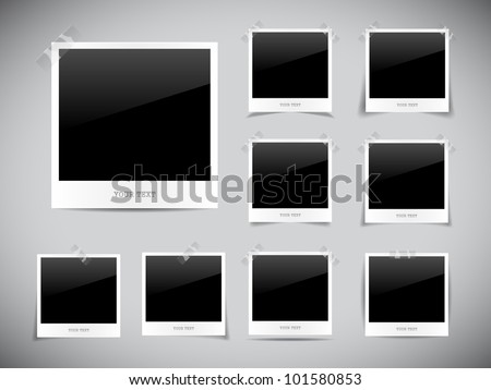 Set of empty photos on grey background - stock vector