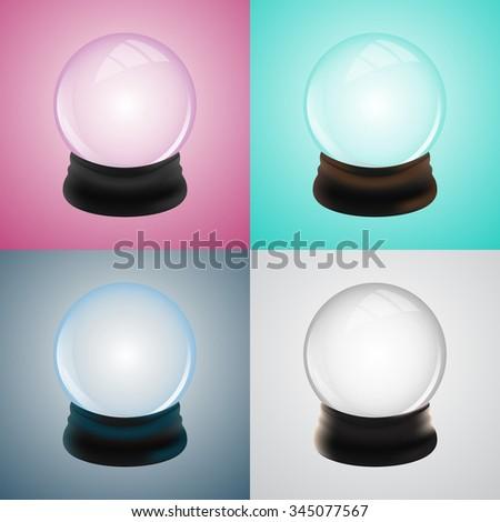 Set of empty snow globe template. Vector illustration. - stock vector