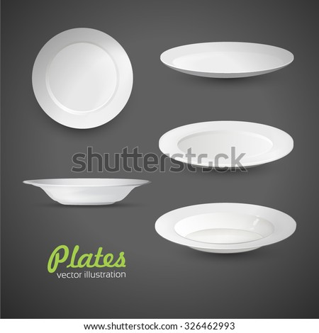 Set of empty white plate on the grey background - stock vector