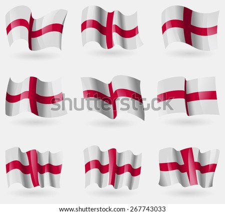 Set of England flags in the air. Vector illustration - stock vector