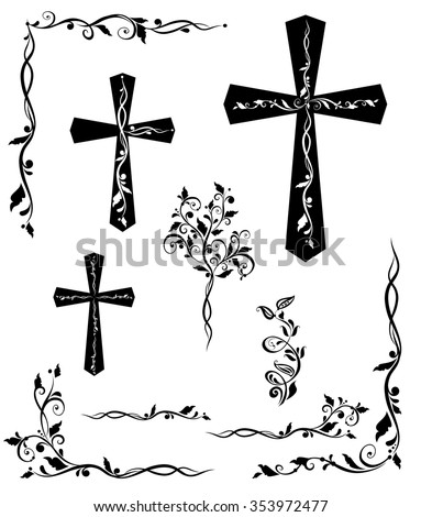 Set of engraving cross with floral pattern - stock vector