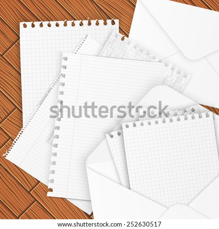 Set of envelopes and paper, vector illustration - stock vector