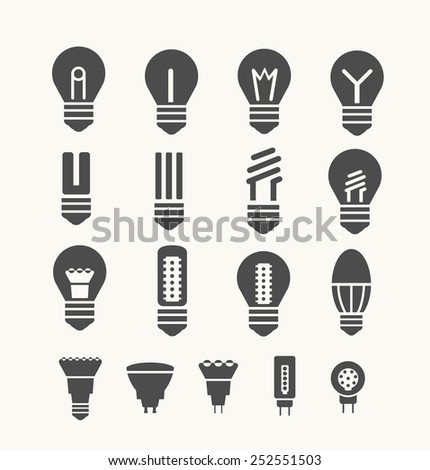 Set of environmental energy saving lamps for art and design - stock vector