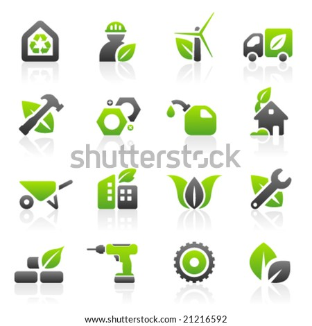 Set of 16 environmental green building and construction icons - stock vector