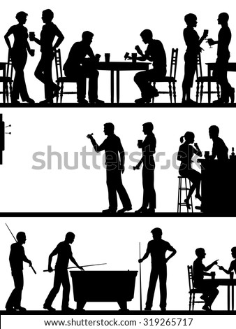 Set of eps8 editable vector cutout foreground silhouettes of typical British pub games with all elements as separate objects - stock vector