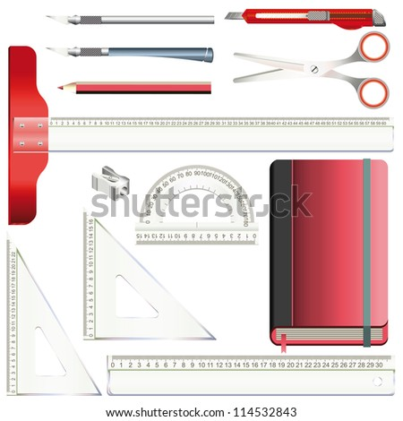 Set of equipment for drafting and drawing with transparent plastic rulers, pencil, model knife, scissors and red sketchbook - stock vector