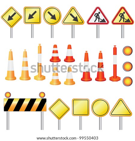 Set of equipment for road work on the white background. - stock vector