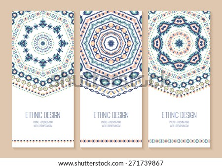 Set of ethnic banners. Stylish tribal geometric backgrounds. Templates for design with aztec ornaments. Vector illustration. - stock vector