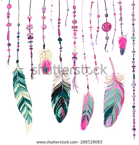 Set of ethnic feathers. Ethnic seamless pattern in native style. Bright colored feathers and beads on background. Vector decorative elements hippie - stock vector