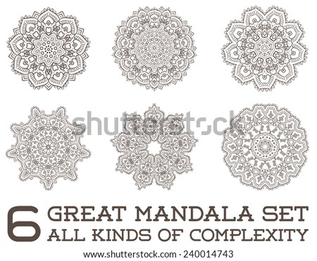 Set of Ethnic Fractal Mandala Vector Meditation looks like Snowflake or Flower too Isolated on White - stock vector