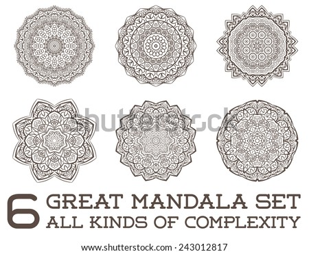 Set of Ethnic Fractal Mandala Vector Meditation looks like Snowflake or Maya Aztec Pattern or Flower too Isolated on White - stock vector