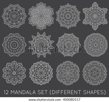 Set of Ethnic Fractal Mandala Vector Meditation Tattoo looks like Snowflake or Maya Aztec Pattern or Flower too Isolated on White - stock vector