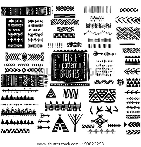 Set of ethnic pattern brushes - stock vector