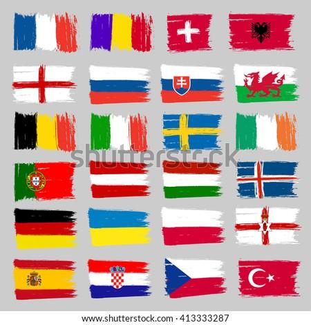 Set Of European Flags - stock vector