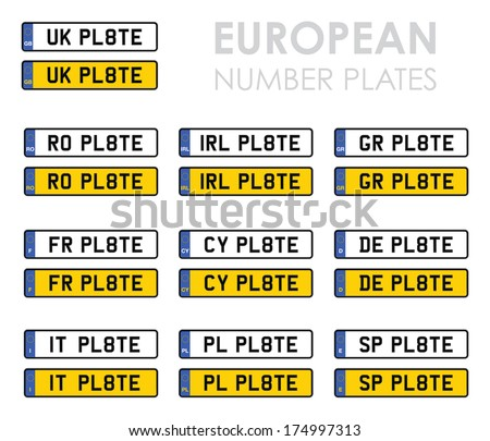 set of european number plates - stock vector