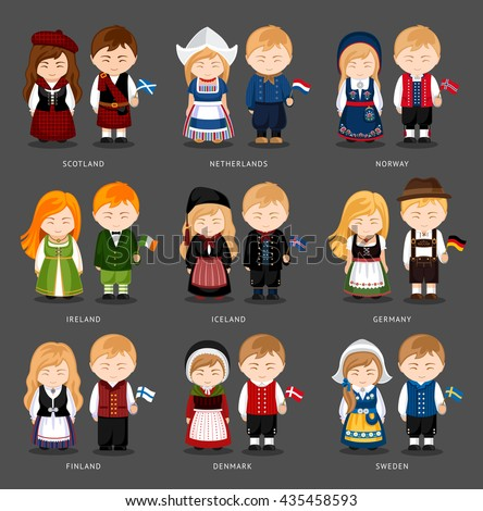 Set of european pairs dressed in different national costumes. Woman and man with flag.  Scotland, the Netherlands, Norway, Iceland, Ireland, Germany, Finland, Denmark, Sweden. Vector illustration. - stock vector