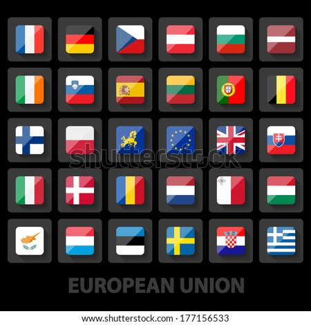 set of European union flags icons - stock vector