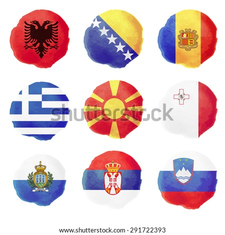Set of european watercolor flags, nine vector icons - stock vector