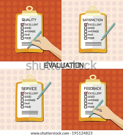 set of Evaluation approve quality check - stock vector