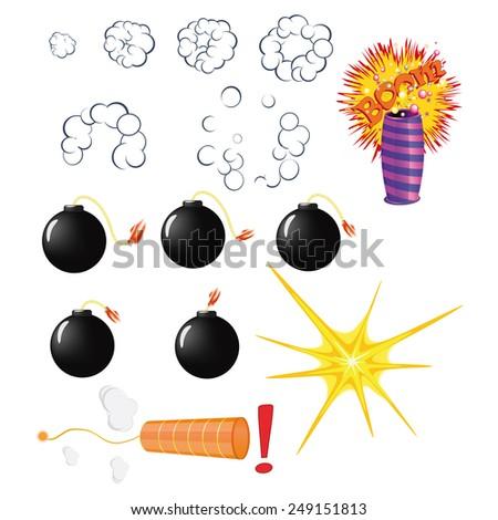 Set of explosive pyrotechnic cartoon - stock vector