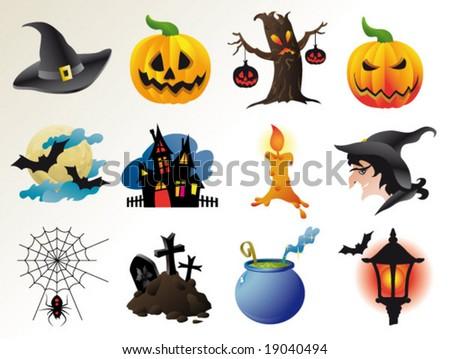 set of fairy halloween icons. vector templates. - stock vector