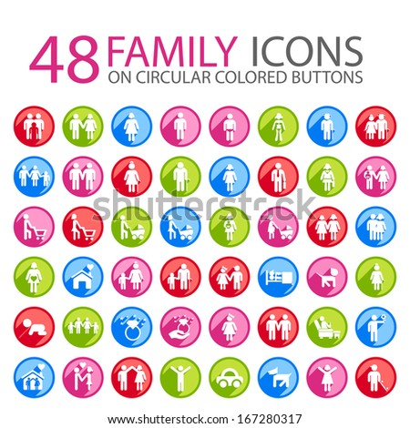 Set of 48 Family Icons on Circular Colored Buttons. - stock vector