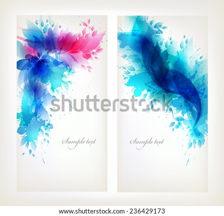 Set of fantasy flowers element. Design brochure template with floral elements - stock vector