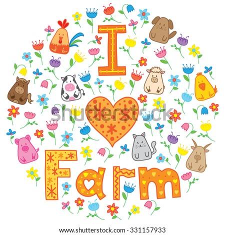set of farm animals. Concept of i love farm. - stock vector