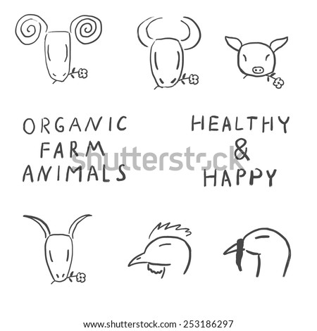 Set of farm animals. Grunge sketches of farm animals - stock vector