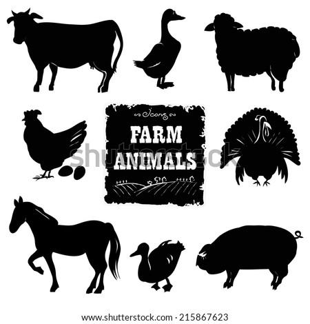 Set of farm animals. Hand drawn vector illustration. - stock vector