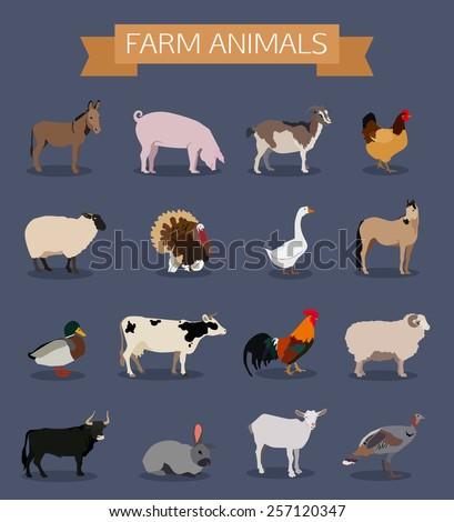 Set of farm animals icons. Flat style design. Vector illustration. - stock vector