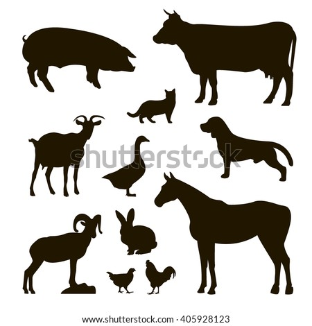 set of farm animals , pig, cow , bull, cat, goat, dog , horse , rabbit , rabbit , chicken , rooster , goose , vector art - stock vector