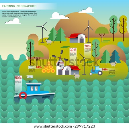 Set of farm design element. Landscape flat illustration. Ecology poster. Riverside. Infographic. Ship. Mountins, Wind turbines - stock vector
