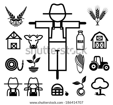 Set of farming icons. Vector illustration. - stock vector