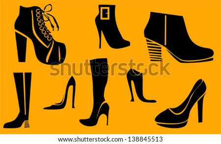 Set of fashion high heel woman shoes and boots - stock vector
