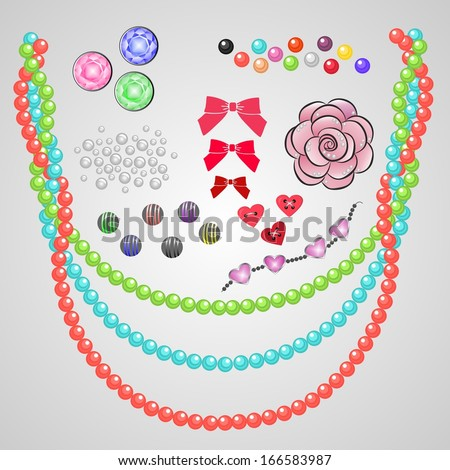 set of fashion jewelry - stock vector
