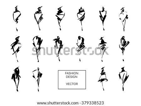 Set of fashion logos hand drawn. Vector fashion illustration. Monochrome sketches isolated. - stock vector