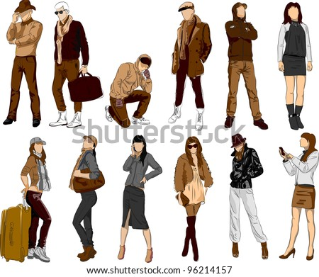 Set of fashion people - stock vector