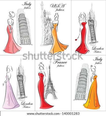 Set of fashion women in different countries - stock vector