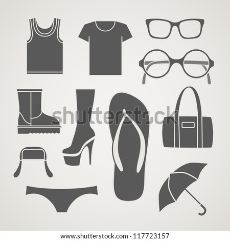 Set of fashionable clothes silhouettes, - stock vector