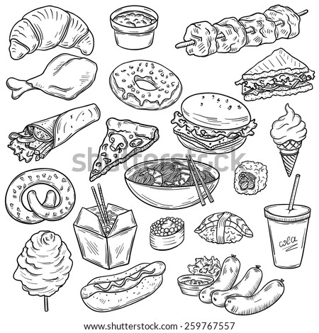 Set of fast food - stock vector