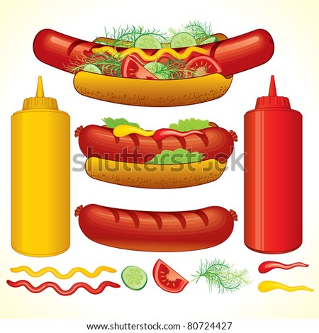 Set of Fast Food and Snacks, vector illustrations isolated on white - stock vector