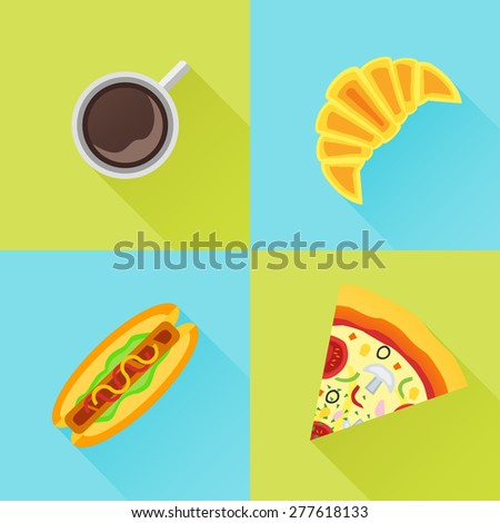 Set of fast food flat icons. Cup of coffee, croissant, hot dog and pizza. - stock vector