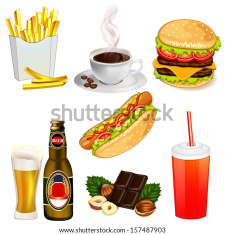 Set of fast food icons - stock vector